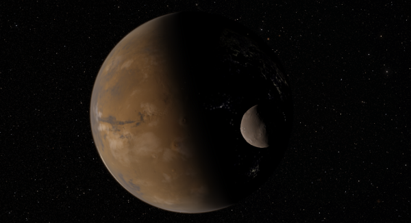Mars and its moon Deimos